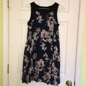 Navy blue and black print dress